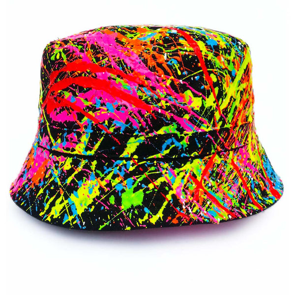 COUCHUK - UV REACTIVE - SPLAT RAVE HAT BLACK MULTI - Clubwear - PLUR - Rave clothing