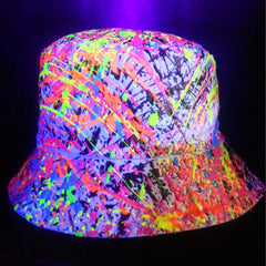 COUCHUK - UV REACTIVE - SPLAT RAVE HAT WHITE MULTI - Clubwear - PLUR - Rave clothing