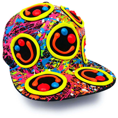 COUCHUK - UV REACTIVE - MULTI SQUIDGY CAP BLACK - Clubwear - PLUR - Rave clothing