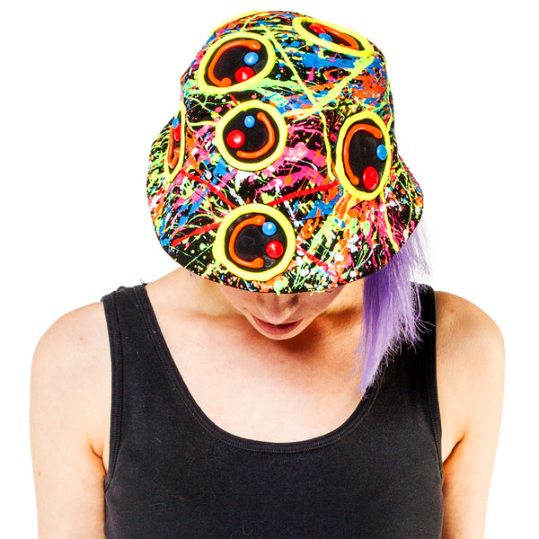 COUCHUK - UV REACTIVE - MULTI SQUIDGY FACE RAVE HAT BLACK MULTI - Clubwear - PLUR - Rave clothing