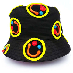 COUCHUK - UV REACTIVE - MULTI SQUIDGY FACE RAVE HAT BLACK - Clubwear - PLUR - Rave clothing