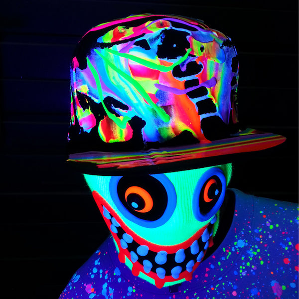 COUCHUK - UV REACTIVE - SCRAPE CAP BLACK MULTI - Clubwear - PLUR - Rave clothing