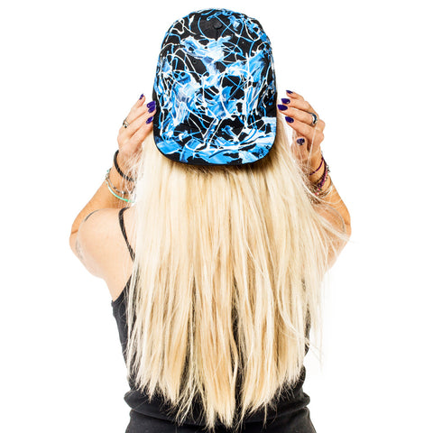 COUCHUK - UV REACTIVE - SCRAPE CAP BLACK BLUE - Clubwear - PLUR - Rave clothing