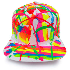 COUCHUK - UV REACTIVE - SCRAPE CAP WHITE MULTI - Clubwear - PLUR - Rave clothing
