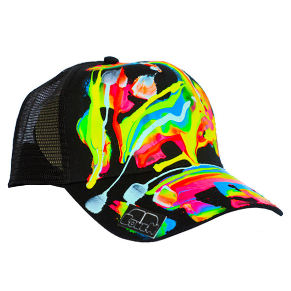COUCHUK - UV REACTIVE - SCRAPE TRUCKER CAP BLACK - Clubwear - PLUR - Rave clothing