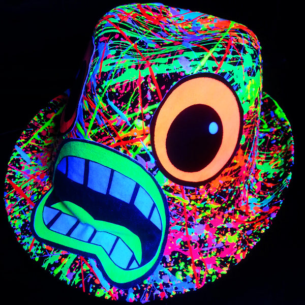 COUCHUK - UV REACTIVE - SCREAM TRILBY BLACK - Clubwear - PLUR - Rave clothing