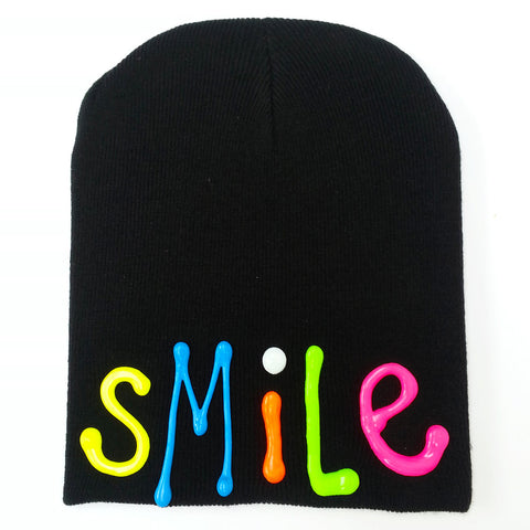 COUCHUK - UV REACTIVE - SMILE BEANIE BLACK - Clubwear - PLUR - Rave clothing