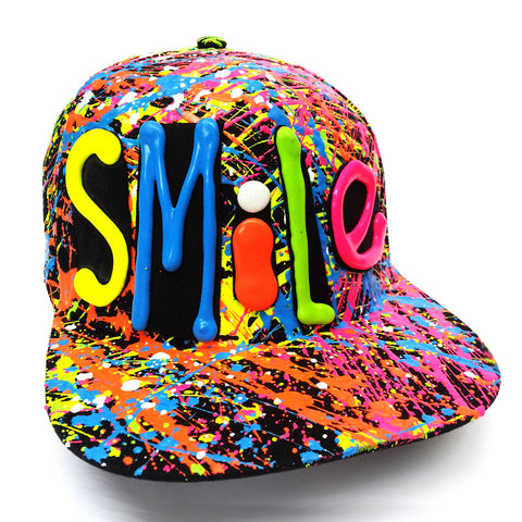 COUCHUK - UV REACTIVE - SMILE  FLATPEAK CAP BLACK - Clubwear - PLUR - Rave clothing