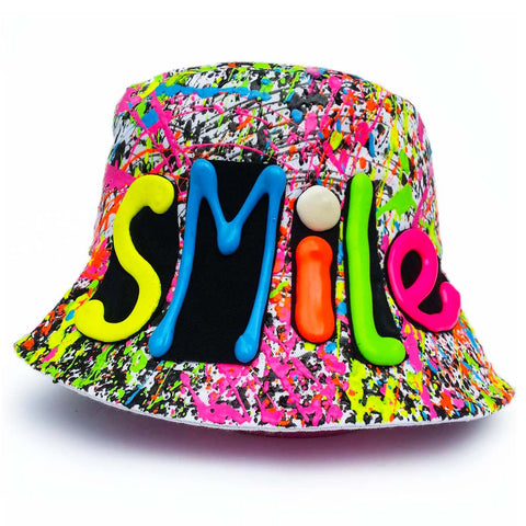 SMILE RAVE HAT WHITE MULTI