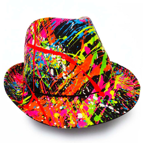 COUCHUK - UV REACTIVE - SPLASH TRILBY BLACK - Clubwear - PLUR - Rave clothing