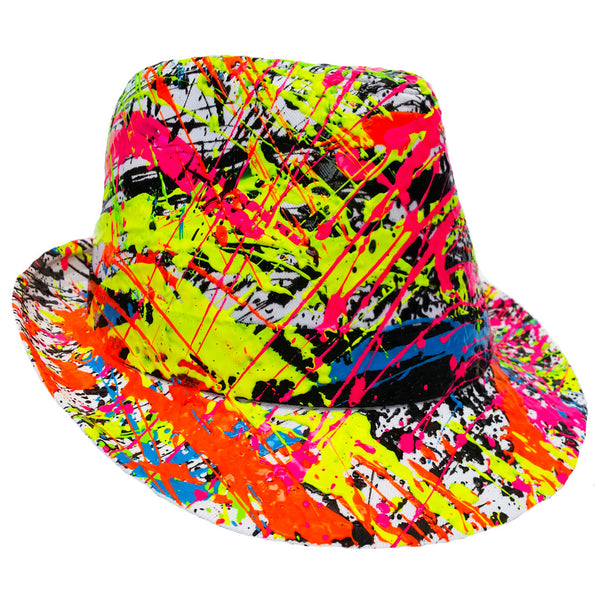 COUCHUK - UV REACTIVE - SPLASH TRILBY WHITE - Clubwear - PLUR - Rave clothing