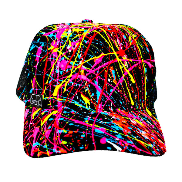 COUCHUK - UV REACTIVE - SPLASH TRUCKER CAP WHITE - Clubwear - PLUR - Rave clothing
