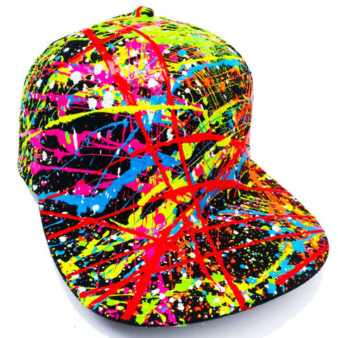 COUCHUK - UV REACTIVE - SPLAT FLATPEAK CAP BLACK - Clubwear - PLUR - Rave clothing