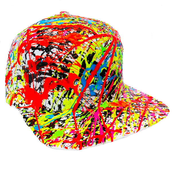 COUCHUK - UV REACTIVE - SPLAT FLATPEAK CAP WHITE - Clubwear - PLUR - Rave clothing