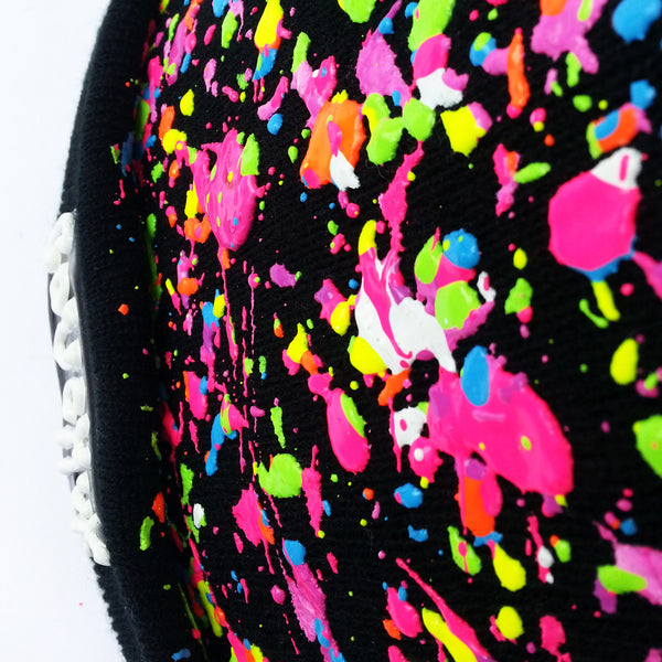 COUCHUK - UV REACTIVE - SPLATTERED BEANIE BLACK - NEON MULTI - Clubwear - PLUR - Rave clothing