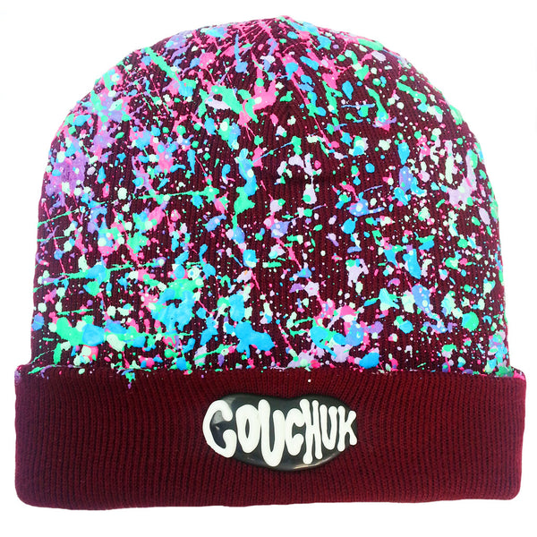 COUCHUK - UV REACTIVE - SPLATTERED BEANIE BURGUNDY - PASTEL MULTI - Clubwear - PLUR - Rave clothing