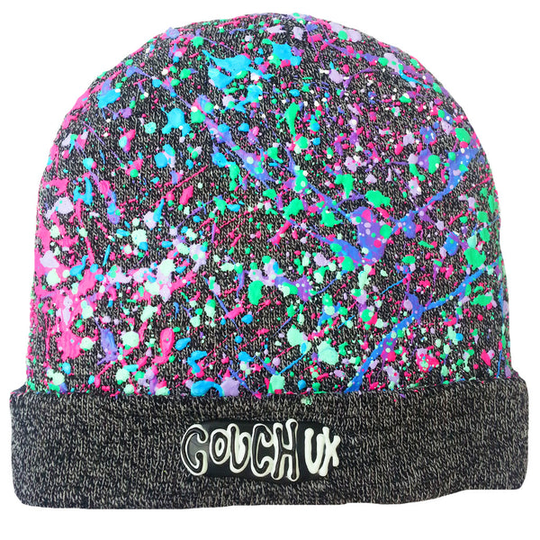 COUCHUK - UV REACTIVE - SPLATTERED BEANIE CHARCOAL GREY MARL - PASTEL MULTI - Clubwear - PLUR - Rave clothing
