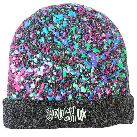 SPLATTERED BEANIE CHARCOAL GREY MARL - PASTEL MULTI