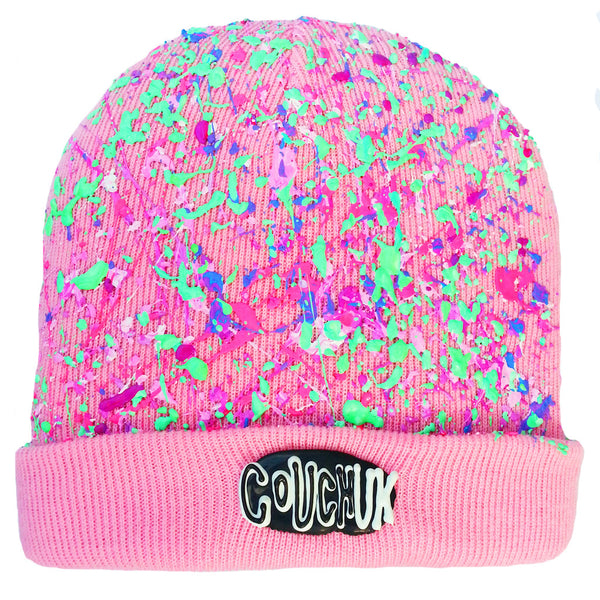 COUCHUK - UV REACTIVE - SPLATTERED BEANIE DUSKY PINK - PASTEL MULTI - Clubwear - PLUR - Rave clothing