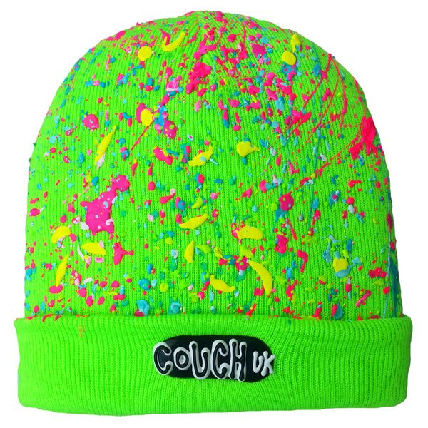 SPLATTERED BEANIE NEON GREEN - NEON MULTI