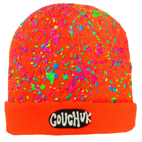 COUCHUK - UV REACTIVE - SPLATTERED BEANIE NEON ORANGE - NEON PASTEL MULTI - Clubwear - PLUR - Rave clothing