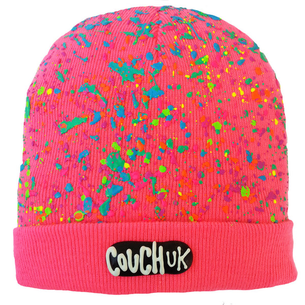COUCHUK - UV REACTIVE - SPLATTERED BEANIE NEON PINK - PASTEL NEON MULTI - Clubwear - PLUR - Rave clothing