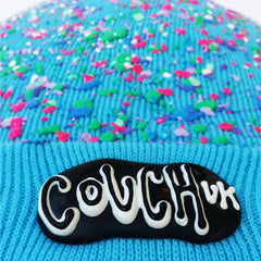 COUCHUK - UV REACTIVE - SPLATTERED BEANIE NEON TURQUOISE - PASTEL MULTI - Clubwear - PLUR - Rave clothing