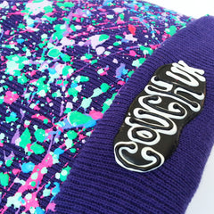 COUCHUK - UV REACTIVE - SPLATTERED BEANIE PURPLE - PASTEL MULTI - Clubwear - PLUR - Rave clothing