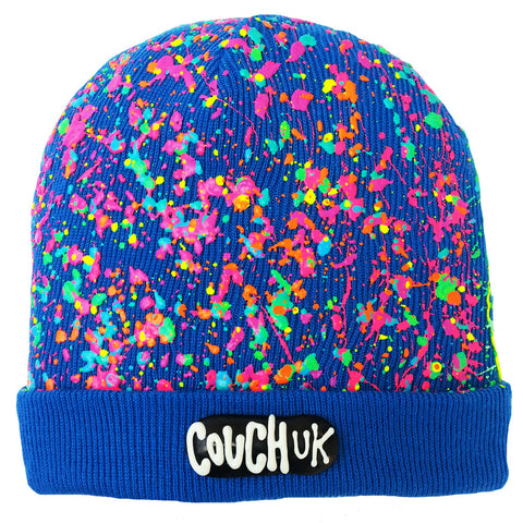COUCHUK - UV REACTIVE - SPLATTERED BEANIE ROYAL BLUE - NEON MULTI - Clubwear - PLUR - Rave clothing