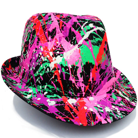 SPLATTER TRILBY BLACK CORAL RED/EMERALD GREEN/PURPLE/PINK