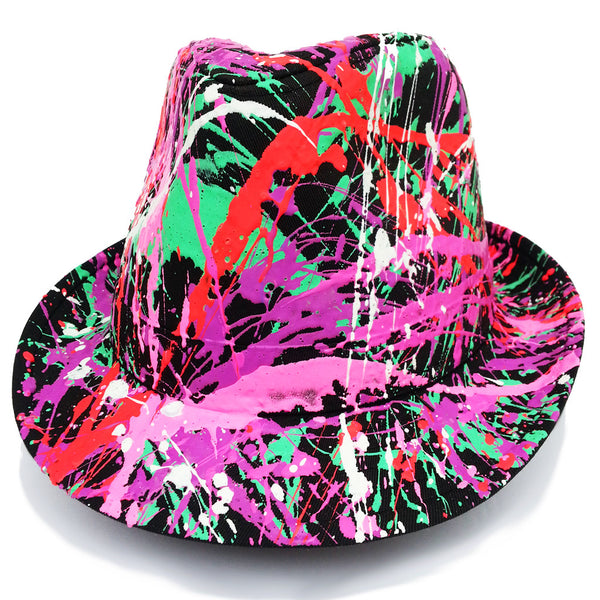COUCHUK - UV REACTIVE - SPLATTER TRILBY BLACK CORAL RED/EMERALD GREEN/PURPLE/PINK - Clubwear - PLUR - Rave clothing