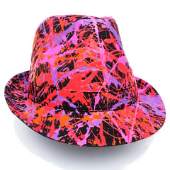 COUCHUK - UV REACTIVE - SPLATTER TRILBY BLACK CORAL RED/FLUORO ORANGE/PURPLE/PINK - Clubwear - PLUR - Rave clothing
