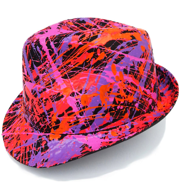 SPLATTER TRILBY BLACK CORAL RED/FLUORO ORANGE/PURPLE/PINK