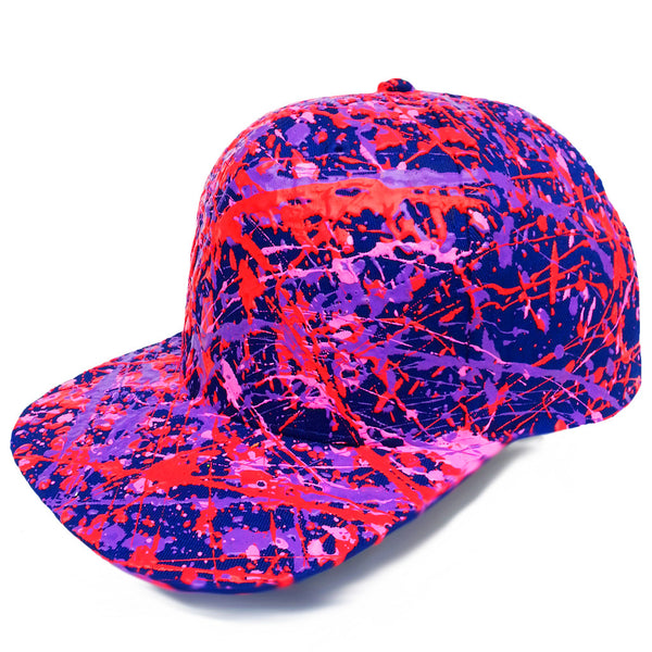 COUCHUK - UV REACTIVE - SPLATTER FLATPEAK CAP BRIGHT ROYAL BLUE - CORAL RED/PURPLE/PINK - Clubwear - PLUR - Rave clothing