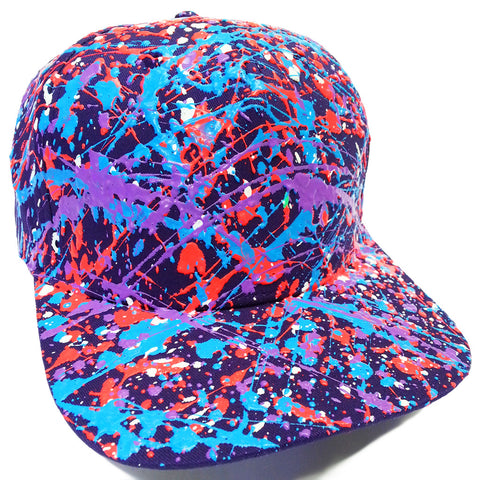 SPLATTER FLATPEAK CAP PURPLE - CORAL RED/TURQUOISE/PURPLE