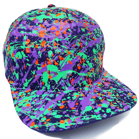 SPLATTER FLATPEAK CAP PURPLE - TURQUOISE GREEN/PURPLE/FLUORO ORANGE