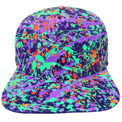 COUCHUK - UV REACTIVE - SPLATTER FLATPEAK CAP PURPLE - TURQUOISE GREEN/PURPLE/FLUORO ORANGE - Clubwear - PLUR - Rave clothing