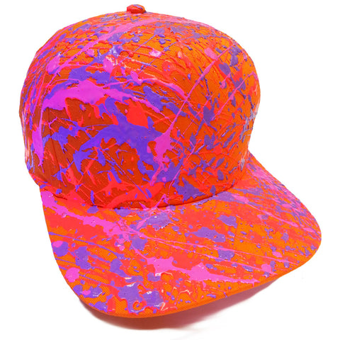 SPLATTER FLATPEAK CAP ORANGE CORAL RED/LILAC/PURPLE