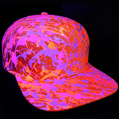 COUCHUK - UV REACTIVE - SPLATTER FLATPEAK CAP ORANGE CORAL RED/LILAC/PURPLE - Clubwear - PLUR - Rave clothing