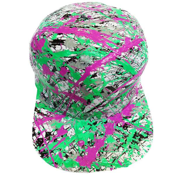 COUCHUK - UV REACTIVE - SPLATTER FLATPEAK CAP WHITE BLACK/GREY/PURPLE/EMERALD GREEN - Clubwear - PLUR - Rave clothing
