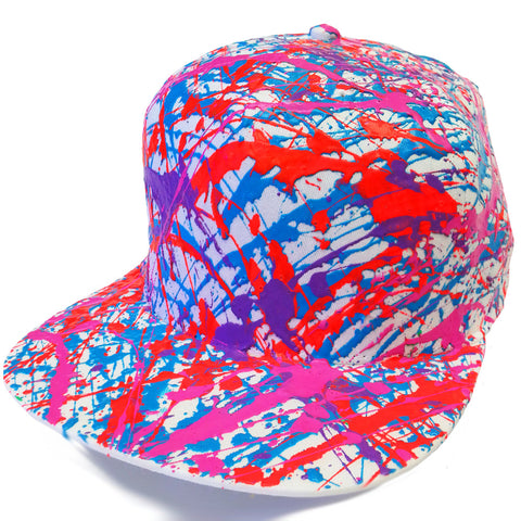 SPLATTER FLATPEAK CAP WHITE - ORANGE/PURPLE/BLUE/PINK