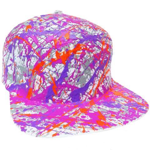 SPLATTER FLATPEAK CAP WHITE GREY/PURPLE/LILAC/NEON ORANGE