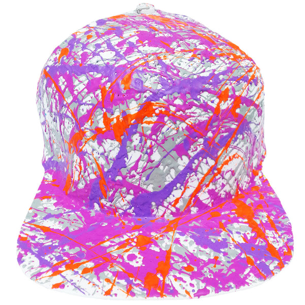 COUCHUK - UV REACTIVE - SPLATTER FLATPEAK CAP WHITE GREY/PURPLE/LILAC/NEON ORANGE - Clubwear - PLUR - Rave clothing