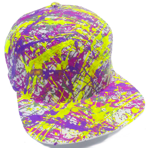 SPLATTER FLATPEAK CAP WHITE GREY/PURPLE/LILAC/NEON YELLOW