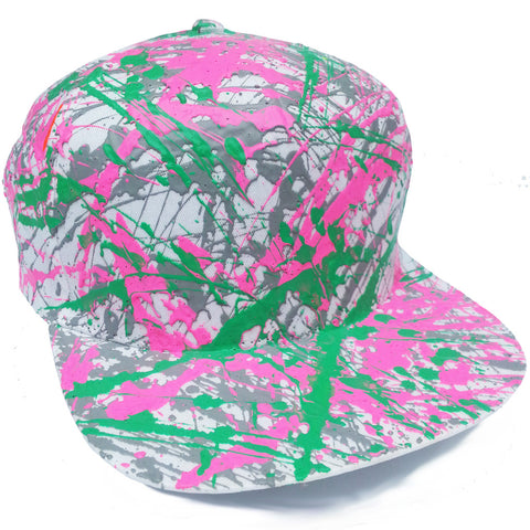 SPLATTER FLATPEAK CAP WHITE GREY/PINK/EMERALD GREEN