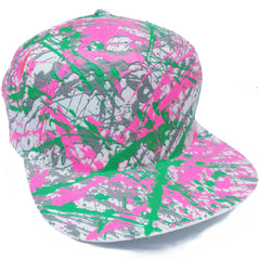 COUCHUK - UV REACTIVE - SPLATTER FLATPEAK CAP WHITE GREY/PINK/EMERALD GREEN - Clubwear - PLUR - Rave clothing