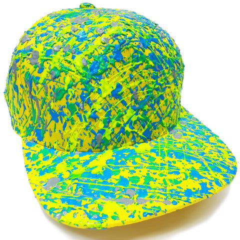 SPLATTER FLATPEAK CAP YELLOW BLUE/GREEN