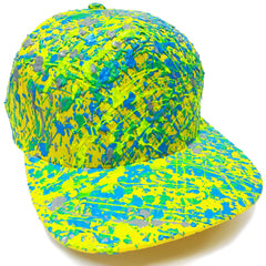 COUCHUK - UV REACTIVE - SPLATTER FLATPEAK CAP YELLOW BLUE/GREEN - Clubwear - PLUR - Rave clothing