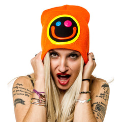 COUCHUK - UV REACTIVE - SQUIDGY FACE BEANIE ORANGE - Clubwear - PLUR - Rave clothing