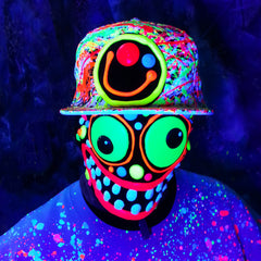 COUCHUK - UV REACTIVE - SQUIDGY FACE CAP WHITE - Clubwear - PLUR - Rave clothing